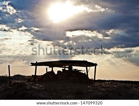 desert checkpoint - stock photo