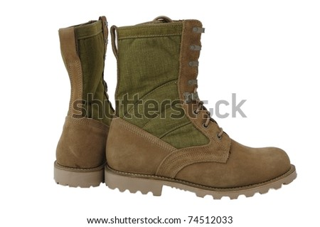 Desert combat boots used by US and UK soldiers - stock photo
