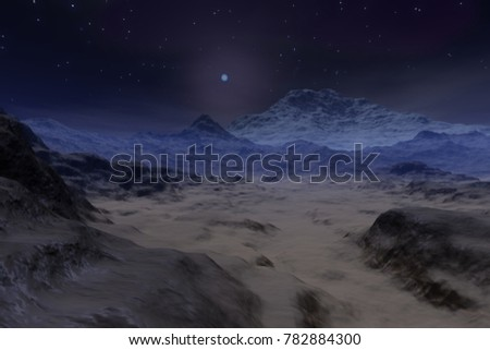 Desert, 3D rendering, a lunar landscape, rocks and stones in the Valley and stars in the sky.