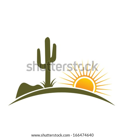 Desert design elements with sun - stock photo