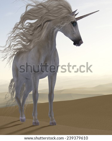 Desert Dune Unicorn - A Unicorn is a creature of fantasy and mythology which has a horn on its head and cloven hooves. - stock photo