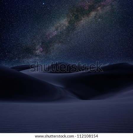 Desert dunes sand in milky way stars night sky  [photo illustration] - stock photo