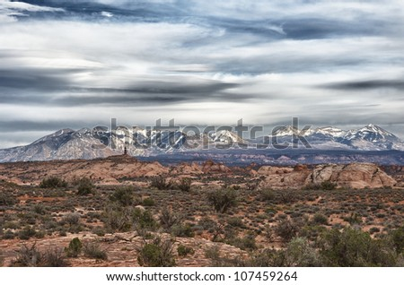 Desert foreground with the La Sal mountains in the background.  Taken in Utah, USA. - stock photo