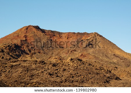 Desert formed by lava flows on the volcanic island of Lanzarote. Geological heritage unique in the world that still attracts the attention of many scientists.