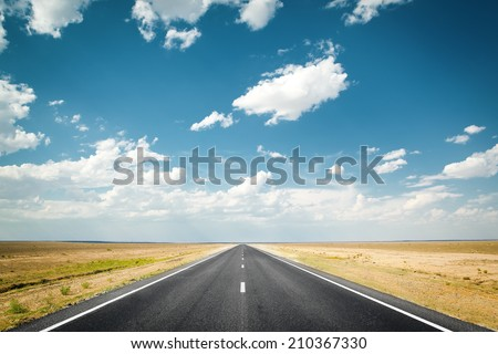 desert highway - stock photo