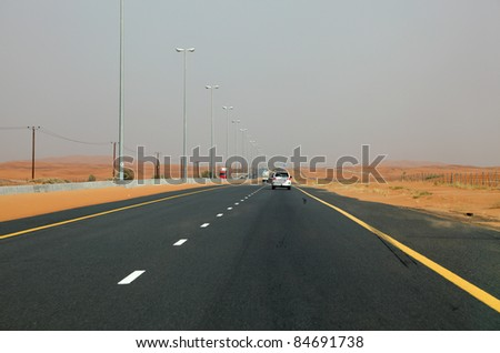 Desert Highway in Dubai, United Arab Emirates - stock photo