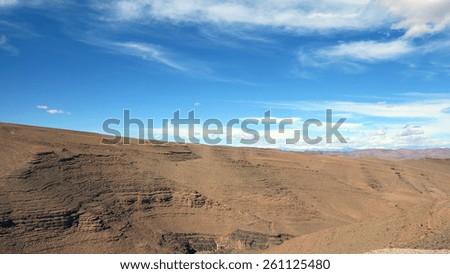 desert in morroco with blue sky - stock photo