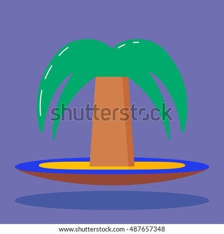 Desert Island With Palm Trees Surrounded by Blue Sea on purple background with shadow. Outside of civilization. An isolated object in modern style. Illustration. Rest on the sea, fresh air. Vacation.