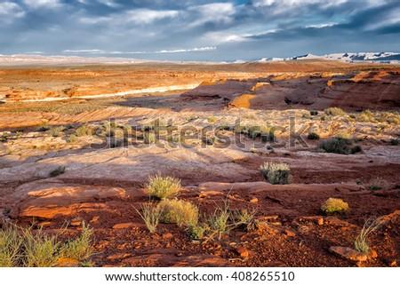 Desert landscape at dawn. Location: Arizona, USA - stock photo
