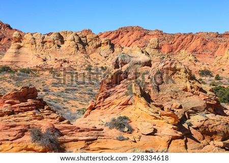 Desert landscape at South Coyote Buttes, Arizona, USA. - stock photo