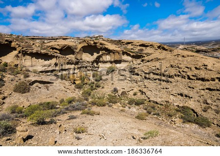 Desert landscape in Tenerife Canary Islands Spain