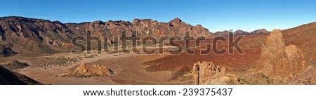 Desert landscape in Volcano Teide National Park, Tenerife, Canary Island, Spain, UNESCO World Heritage Site