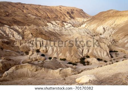 Desert landscape near the Dead Sea. Israel - stock photo