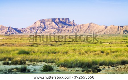 desert landscape of Navarra in summer. Spain