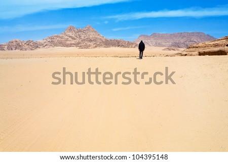 desert landscape  of Wadi Rum, Jordan - stock photo