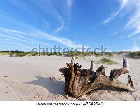 Desert landscape Slowinski National Park Poland Baltic sea - stock photo