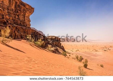 Desert landscape under blue skies
