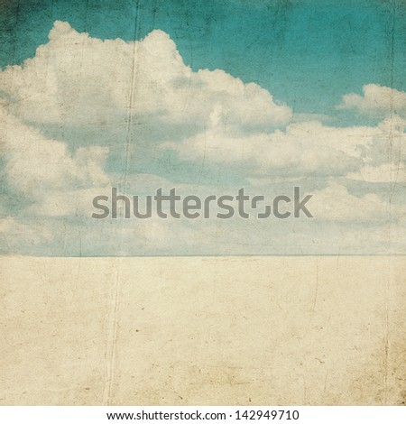 Desert landscape with clouds - retro style picture - stock photo