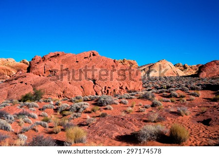 Desert Landscape with red rocks and blue sky with small shrubs in the Valley of Fire State Park in Nevada. - stock photo