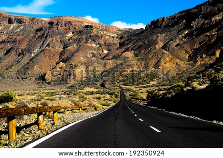 Desert Lonely Road Landscape in Volcan Teide National Park, Tenerife, Canary Island, Spain