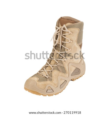 desert man's boot Isolated on a white background - stock photo