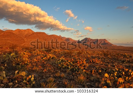 Desert Mountains at Sunrise. Southern Rocky Mountains in El Paso, Texas at Sunrise. Area is known as Castner Range. It is an old firing range that is off limits to the public. - stock photo