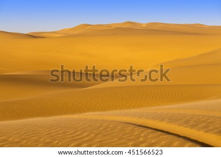 Desert nature. Wavy structure of sand and crests of dunes. Annual expansion of the areas of deserts. A background for tourist offers.