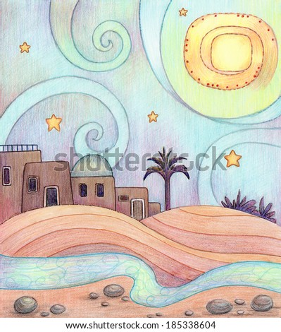 Desert Night - An illustration of an old city in the desert, made with markers and colored pencils. - stock photo