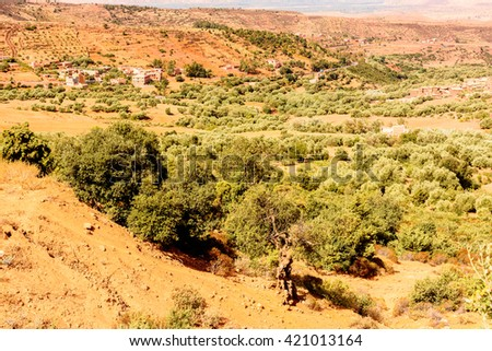 Desert of Ait Benhaddou, a fortified city, the former caravan way from Sahara to Marrakech. UNESCO World Heritage, Morocco - stock photo