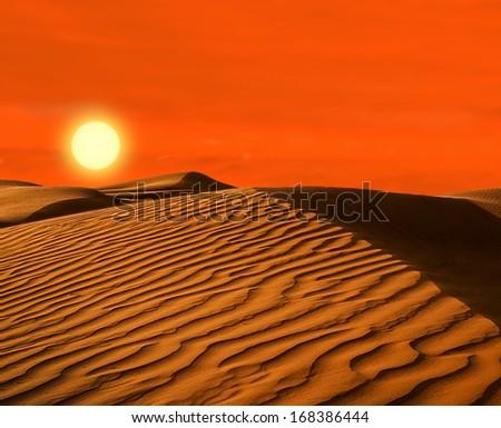Desert of North Africa, sandy barkhans - stock photo