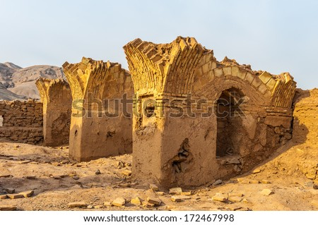 Desert of Yazd, Iran, Zoroastrian architecture  ruins on the sand
