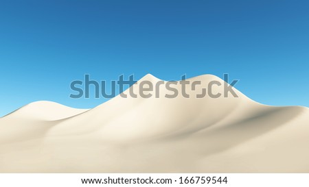desert on a background of blue sky