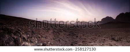 Desert panorama of the Wadi Rum desert in Jordan/ Wadi Rum desert, Jordan - stock photo