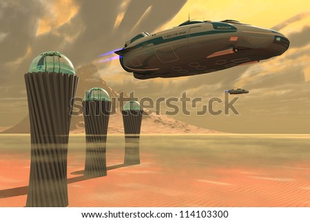 Desert Planet - Two spacecraft takeoff from a colony which produces vegetation on a desert planet. - stock photo