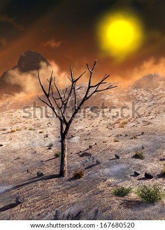 Desert planetscape with a dead tree on foreground. Digital illustration. - stock photo