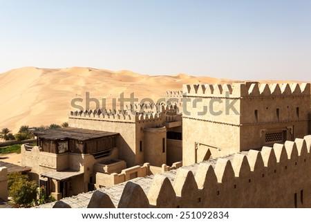 Desert resort in Emirate of Abu Dhabi, United Arab Emirates - stock photo