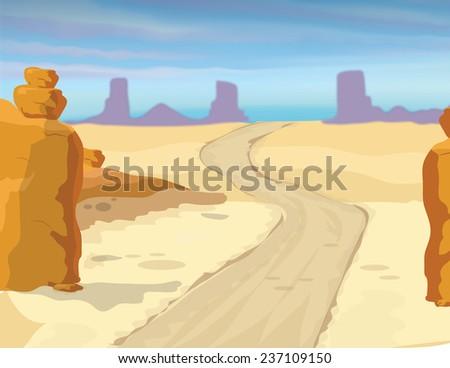 Cartoon Desert Scene Desert Road a Cartoon Style