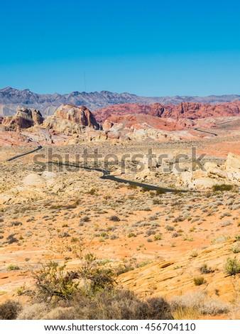 Desert Road and Solitude - stock photo
