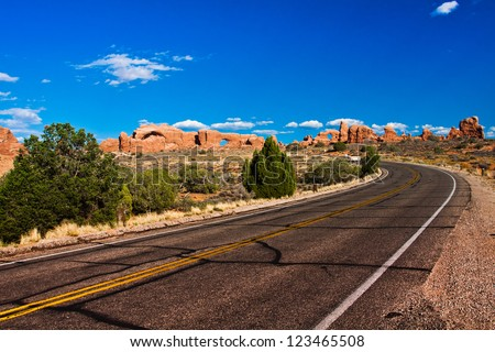 Desert Road in Arches National Park, Utah - stock photo