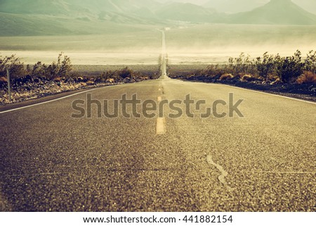 desert road in Death Valley, California, USA - stock photo