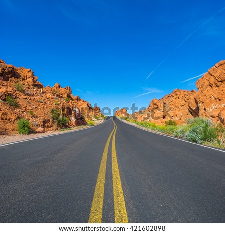 Desert road in valley of fire state park, Nevada - stock photo