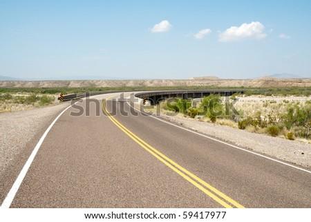 desert road turn - stock photo