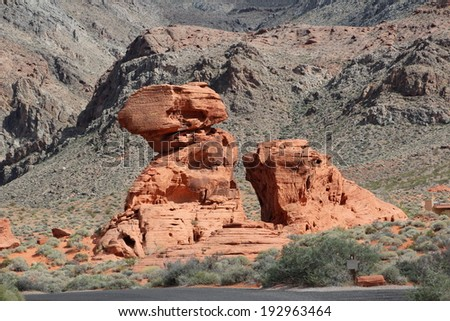 Desert rock formation, Valley of Fire, near Las Vegas Nevada. - stock photo