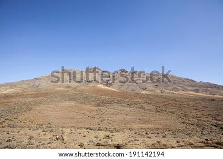 desert's mountains lanscape in fuerteventura, canary island, spain - stock photo
