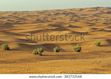 Desert safari view at sunset of sand dunes outside Dubai City, United Arab Emirates