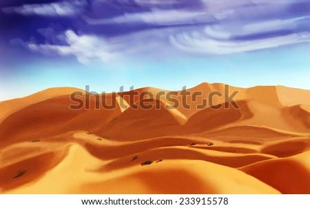 Desert sand, digital drawing, sketch - stock photo