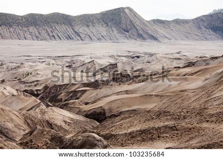 Desert Sand Dune Mountain Landscape of Bromo Volcano crater, East Java Island Indonesia - stock photo