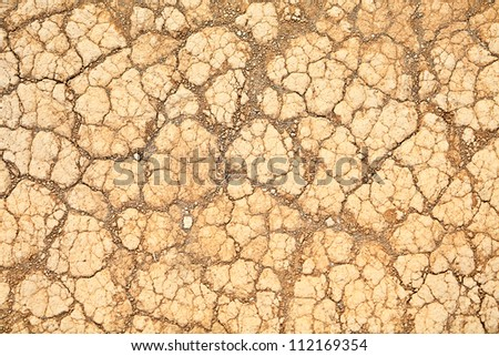 Desert sand texture background. Dry land soil closeup. - stock photo