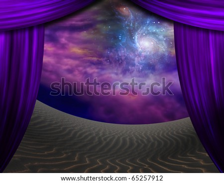Desert Sands and curtains - stock photo