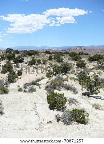 Desert Scene with Blue Sky in Nevada - stock photo